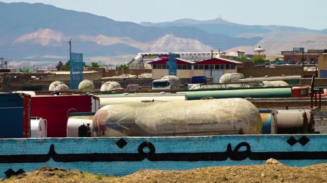 vídeos y material grabado en eventos de stock de industrial gas tanks in azerbaijan, iran - buque tanque