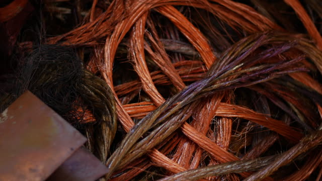 vídeos de stock e filmes b-roll de industrial junky copper wire - emaranhado