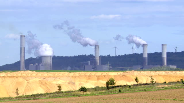 t/l industrial landscape with coal-fired power station - surface mine stock videos and b-roll footage
