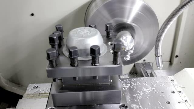 Industrial lathe, panning shot