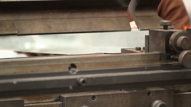 hd : industrial metal folding machine - sheet metal stock videos and b-roll footage