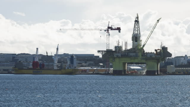 industrial oil rig offshore platform construction site on the north seacoast - norway stock videos & royalty-free footage