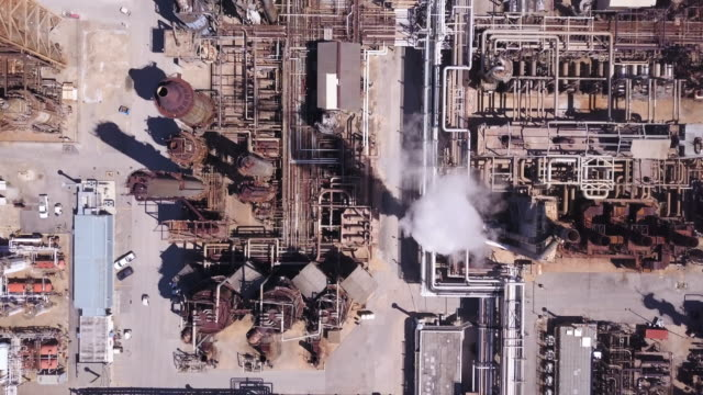 industrial plant outside of houston, top down aerial - smoke stack stock videos & royalty-free footage