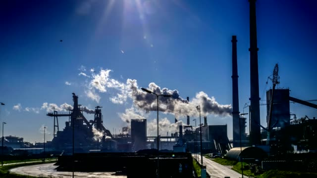 industrial plant with big smoke stacks - environmental issues stock videos & royalty-free footage