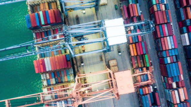 industrial port above view - cargo container stock videos & royalty-free footage
