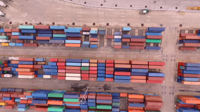 industrial port with containers ship - overhead projector stock videos & royalty-free footage