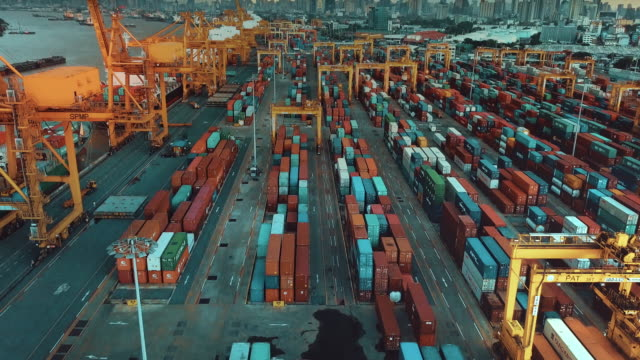 industrial port with containers,aerial view - container stock videos & royalty-free footage