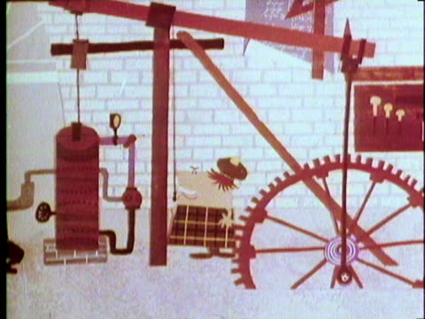 1970 REENACTMENT Industrial Revolution in England WS ZO Animated cartoon of 1700s inventor James Watt working on and improving the recently invented steam engine
