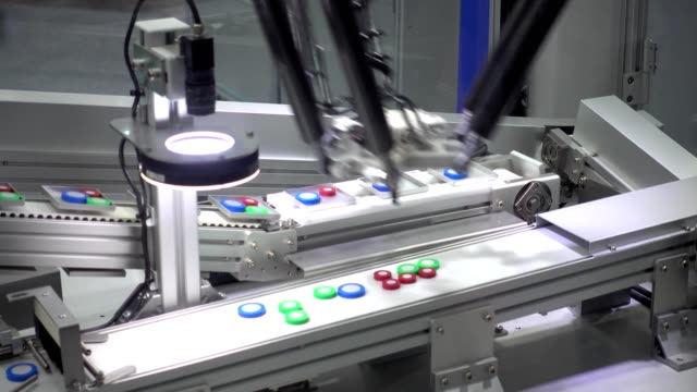 industrial robot hand performs movements that are programmed in the control unit, industrial 4.0 technology concept - packet stock videos & royalty-free footage