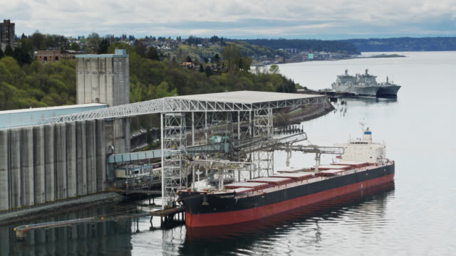 industrial ship in tacoma - drone shot - north pacific stock videos & royalty-free footage