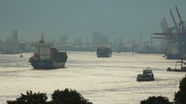 industrial ship on river - river elbe stock videos & royalty-free footage