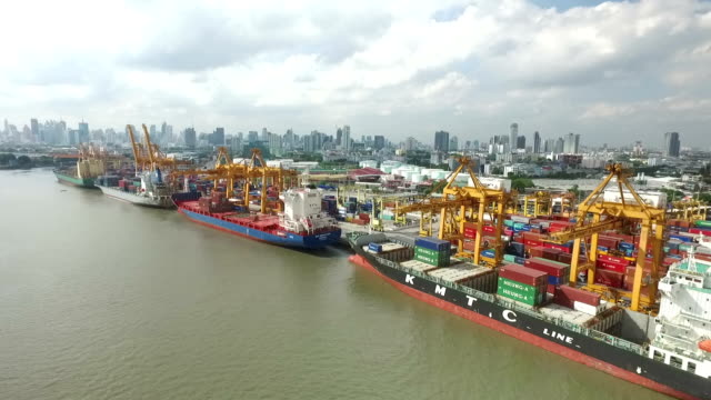 Industrial shipping port in Bangkok, Thailand