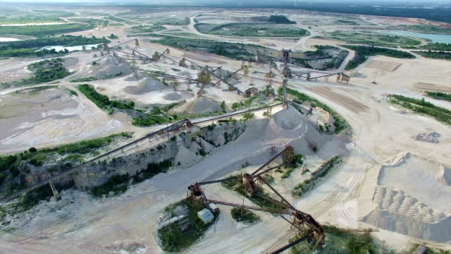industrial stone mining plant aerial view in 4k side pan - slate rock stock videos and b-roll footage