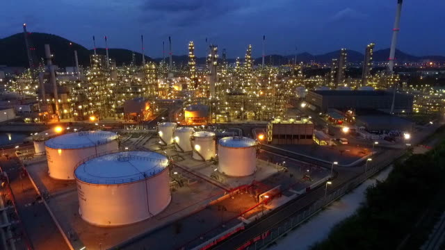 industrial view at oil refinery plant form industry zone - chemistry stock videos & royalty-free footage