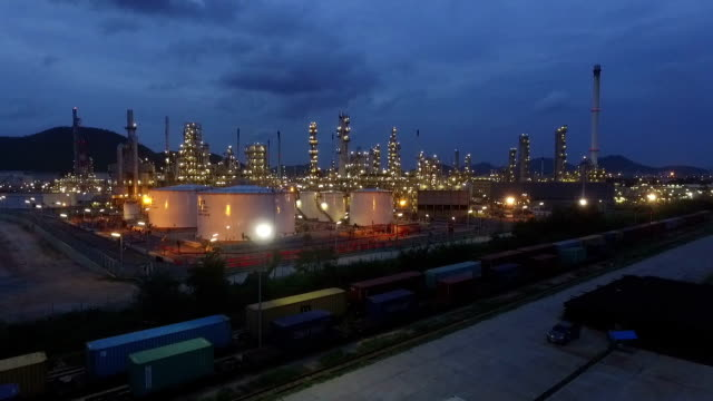 industrial view at oil refinery plant form industry zone - armoured vehicle stock videos & royalty-free footage