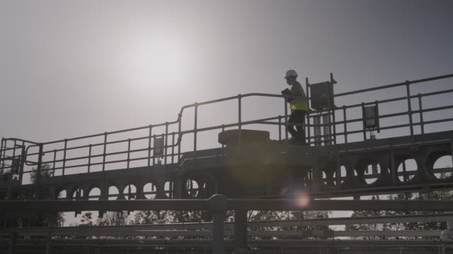 vídeos de stock e filmes b-roll de industrial worker inspecting industrial plant using digital tablet, wearing protective workwear, low angle view at sunset - controlo de qualidade
