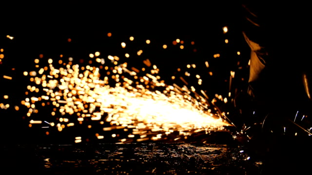 Industrial Worker welding steel with sparks