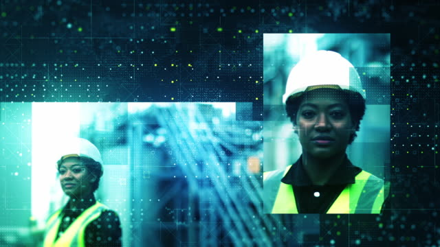industrial workers being identified by facial recognition software - headwear stock videos & royalty-free footage