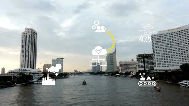 Industry 4.0 The future revolution cyber physical systems boat on Chaopraya river Taksin bridge Bangkok Thailand