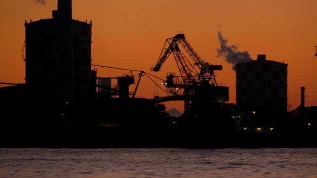 Industry and port at sunset