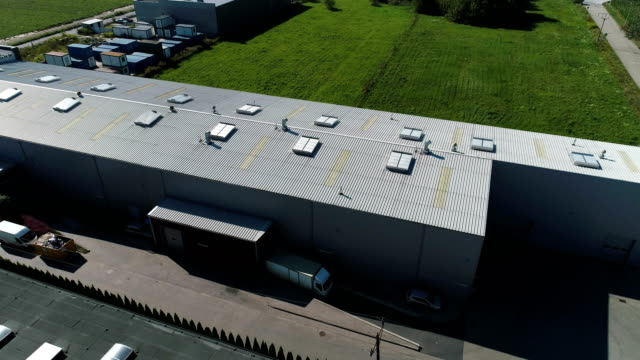 industry building exterior. aerial view - deposito video stock e b–roll
