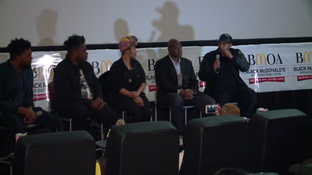 industry panel talks 'black panther' movie after kids get free screening on february 19, 2018 in chicago. event was a collaborative effort between... - film screening stock videos & royalty-free footage