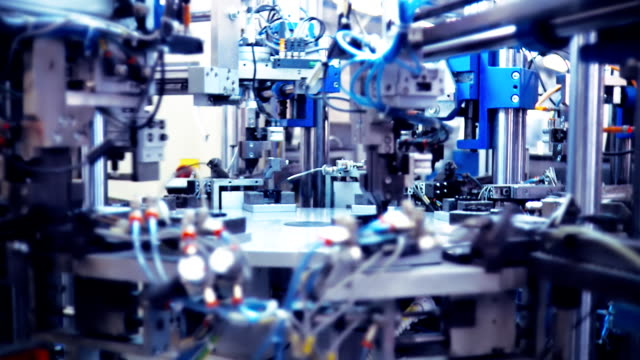 robot industriali - officina video stock e b–roll