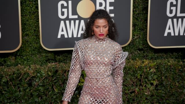 indya moore at the 76th annual golden globe awards at the beverly hilton hotel on january 06, 2019 in beverly hills, california - arrivals- 4k footage - the beverly hilton hotel stock videos & royalty-free footage