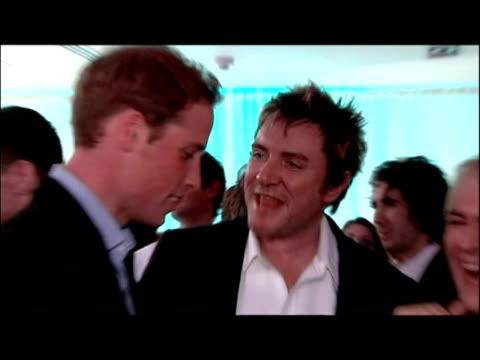 inetrior shots prince william & prince charles meeting & greeting duran duran. concert for diana - princes meet celebrities on july 02, 2007 in london - duran duran stock videos & royalty-free footage