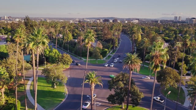 infamous intersection in beverly hills - aerial view - beverly hills stock videos & royalty-free footage