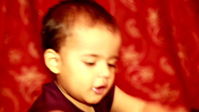 infant playing at home - vibrant color stock videos & royalty-free footage