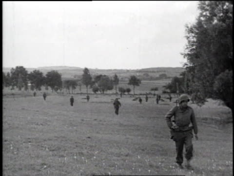 infantry advancing across a field / enemy soldier surrendering, hands in the air - infantry stock videos & royalty-free footage