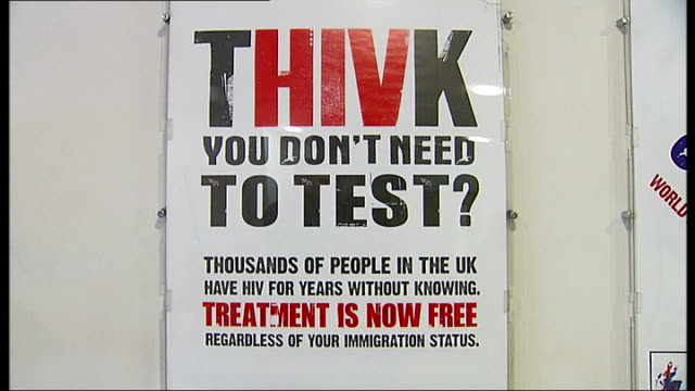calls for at-risk groups to be regularly screened; close shot of poster re hiv tests - 'think you don't need to test?' - retrovirus video stock e b–roll