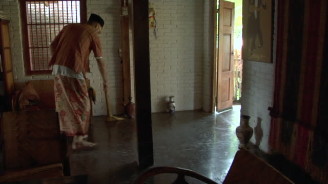 infestation 7: sweeping up remains of laron/flying ants that invaded a traditional wooden house in central java, indonesia - batik stock videos and b-roll footage