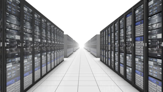 ms pov cgi infinite rows of computer servers on white background. - infinity stock videos & royalty-free footage