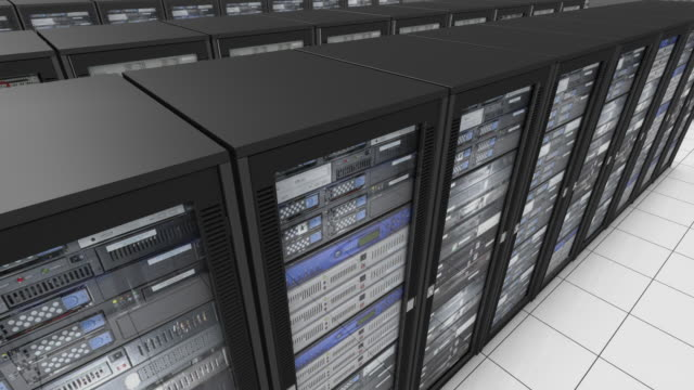 ms pan aerial cgi infinite rows of computer servers on white background. - network server stock videos & royalty-free footage
