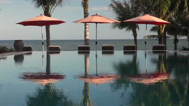 ms infinity pool refecting palm trees and parasols with sea in background - infinity pool stock videos & royalty-free footage