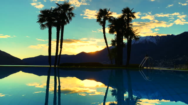 infinity pool with palm trees and snow-capped mountain in sunset - infinity pool stock videos & royalty-free footage