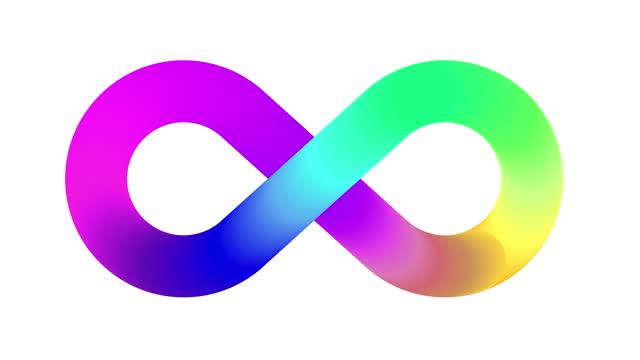 vídeos de stock e filmes b-roll de infinity symbol logo animation - infográfico