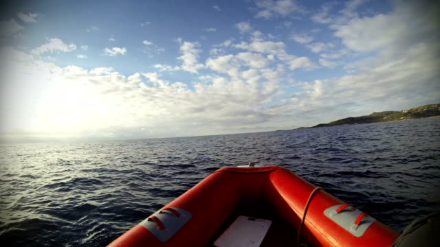 inflatable boat at sea - ship's bow stock videos and b-roll footage
