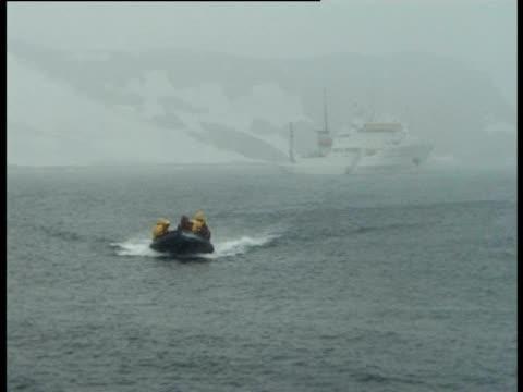 inflatable dingey in antarctic sea, antarctic peninsula, antarctica - antarctic peninsula stock videos & royalty-free footage