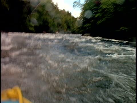 pov, inflatable raft through rapids, otter slide, north creek, adirondack state park, new york state, usa  - rafting stock videos & royalty-free footage