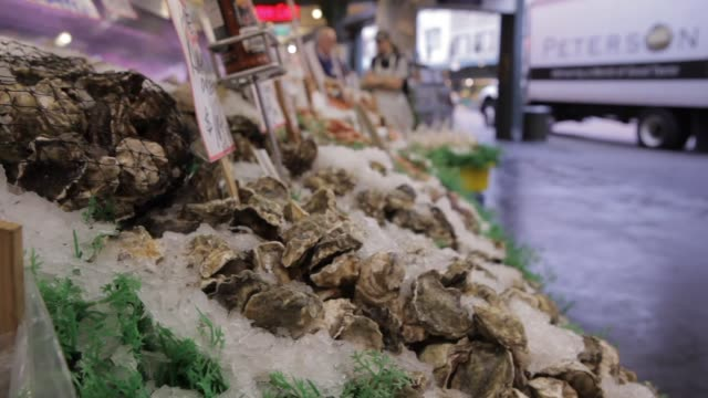 infocus on shellfish market people in background outoffocus - invertebrate stock videos & royalty-free footage