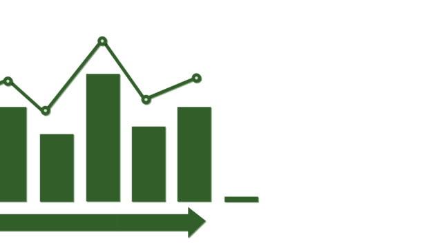Infographic green bar graph