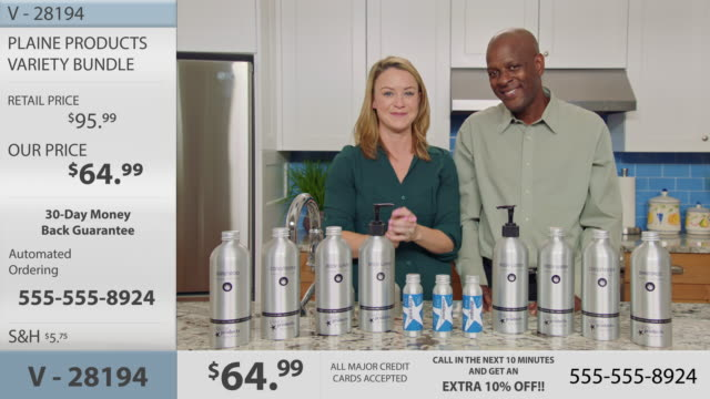 infomercial hosts discuss the sustainable benefits of aluminum bottles over plastic while promoting eco-friendly body and hair care products. - hair conditioner stock videos and b-roll footage