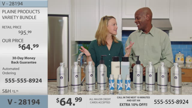 infomercial hosts excitedly promote a variety of eco-friendly body and hair care products in promotional video. - hair conditioner stock videos and b-roll footage