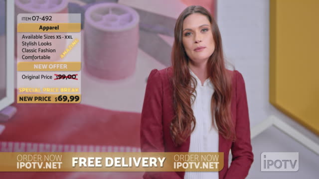us infomercial montage: female host of a tv show about sewing talking to her audience and presenting the designs - television show stock videos & royalty-free footage