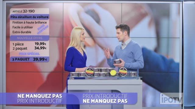 infomercial montage in french: female host introducing male car wax presenter on the show - television advertisement stock videos & royalty-free footage