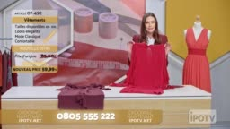 Infomercial montage in French: Female host of a tv show about sewing talking to her audience and presenting the designs