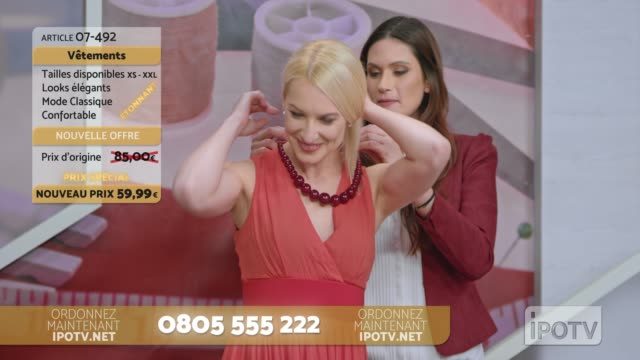 vídeos de stock e filmes b-roll de infomercial montage in french: stylist on a tv show talking about the dress the model is wearing and placing a necklace around her neck while talking with the to the female host - montagem de filme técnica de filmagem